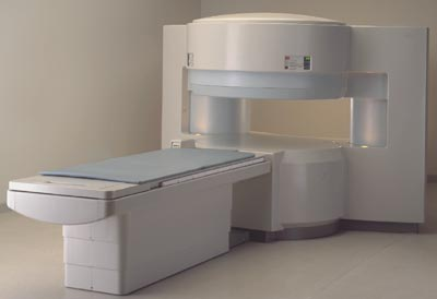 An 'open' MRI unit. These models are designed to alleviate patient claustrophobia.