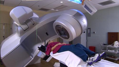 Patient undergoing radiation therapy treatment.