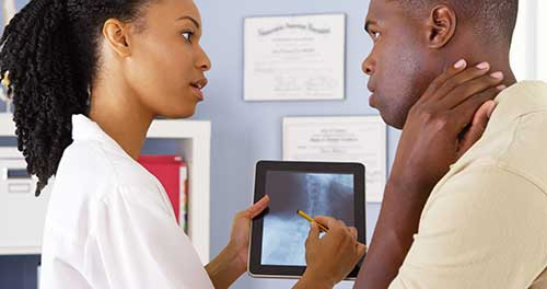 Radiologist and patient consultation.