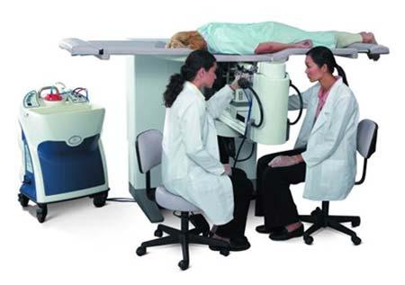 Paciente durante una biopsia de mama estereotáctica.