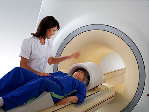 Patient being prepped for a magnetic resonance imaging (MRI) exam.
