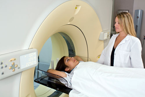 Patient undergoing computed tomography (CT) scan.