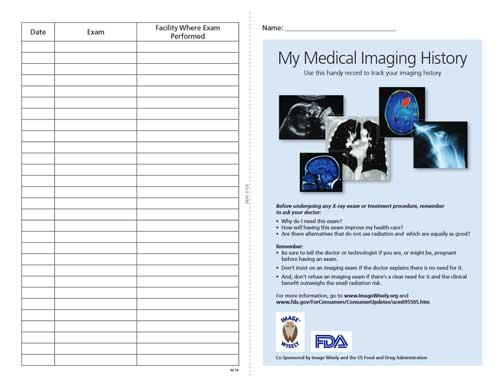 A medical imaging history card